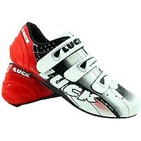 LUCK Zapatillas de Ciclismo EVO, para Carretera, con Suela de Carbono,Muy rigida y Ligera y Triple Tira de Velcro. (37 EU)