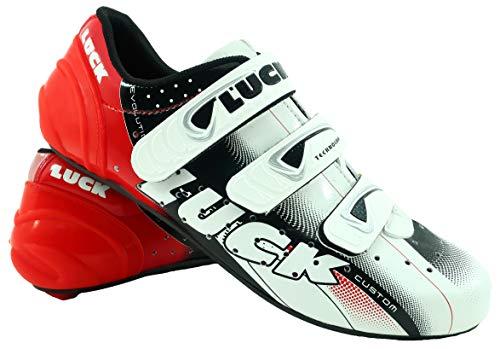LUCK Zapatillas de Ciclismo EVO, para Carretera, con Suela de Carbono,Muy rigida y Ligera y Triple Tira de Velcro. (46 EU)