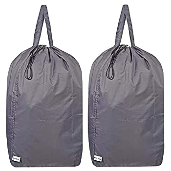 UniLiGis Washable Travel Laundry Bag with Handles and Drawstring  2 Pack  Heavy Duty Large Enough to Hold 3 Loads of Laundry Fit a Laundry Basket or Clothes Hamper 27.5x34.5 in,Grey