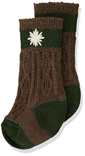 Lusana Jungen Kinder-Socke zweifarbig, Bestickt Kniestrümpfe, Braun (Mittelbraun/Tanne 1119), 23-26