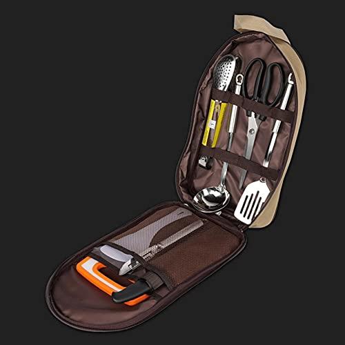 GZQDX Picnic al Aire Libre Camping de Utensilios de Cocina Conjunto de Utensilios de 8pcs Tijeras Utensilios Sistemas Set de Cuchara 201 inoxidables Acero Inoxidable Picnic Vajilla Flotware