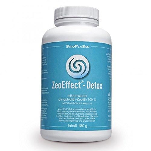 ZeoEffect-DETOX, 180g Pulver, hochwertigstes Zeolith Klinoptilolith mit MEDIZINPRODUKT-Zulassung, zur Reduzierung von Ammonium- und Schwermetallbelastung, zur Entlastung von Stoffwechsel, Leber, Niere, Bauchspeicheldrüße und Blut