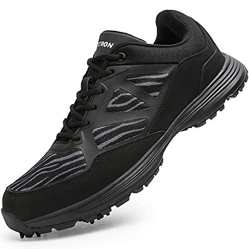 Scarpe da Golf da Uomo di Alta qualità, Professional Impermeabili E Traspiranti Golf Shoes,Adatte per Campi di Allenamento All'aperto E da Golf,Nero,10.5US
