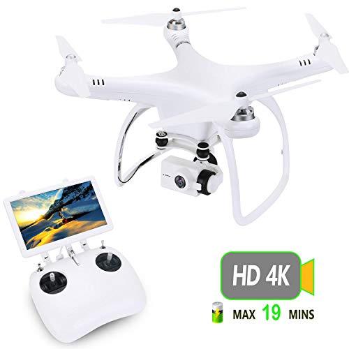 UPair Drohne mit 4K HD Kamera, RC Quadrocopter 5.8G FPV Liveübertragung mit 120° Aufnahmewinkel, GPS/Optisches Flusspositionierungssystem, Flugplananpassung, One Key Return, Ideal für Anfänger