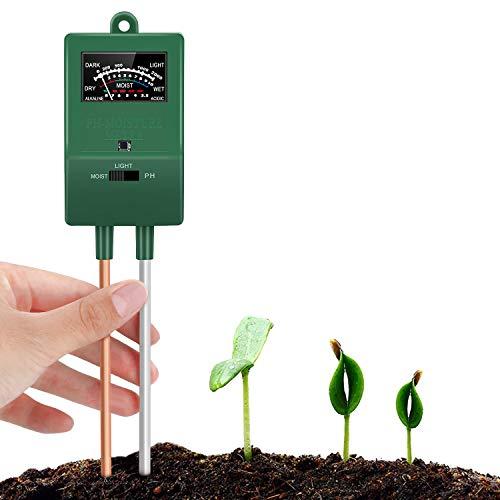 Bearbro Medidor de Suelo, 3 en 1 Sensor de Humedad higrómetro para jardín, Granja, Plantas de césped en Interiores y Exteriores (no Necesita batería)