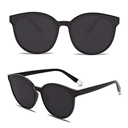 SOJOS Fashion Round Sunglasses for Women Men Oversized Vintage Shades SJ2057, Black/Grey