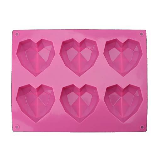 MYA 1Pc 3D Diamant Amour Coeur Forme Silicone Moules Ustensiles De Cuisson Éponge Gâteaux en Mousseline De Soie Mousse 3D Moulle en Silicone