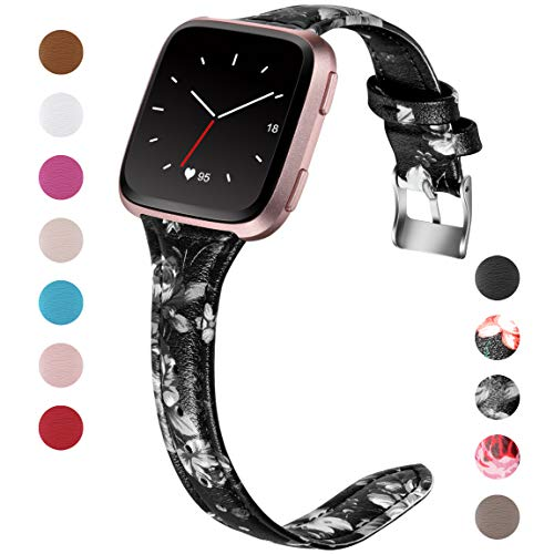 """Maledan for Fitbit Versa Bands Women Men Large Small, Slim Genuine Leather Band Accessories Replacement Strap for Fitbit Versa Smart Watch (Black/White Floral, Large Size: 5.6""""-7.4"""")"""