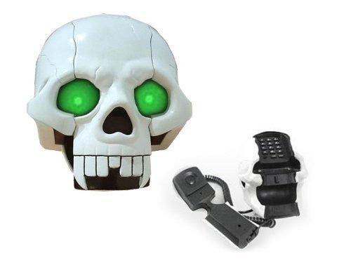 Grusel Totenkopf Telefon - weiß
