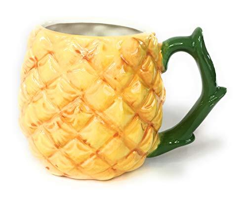 Pineapple Coffee Mug, Earthenware Figural Collectors Hot Beverage Mug