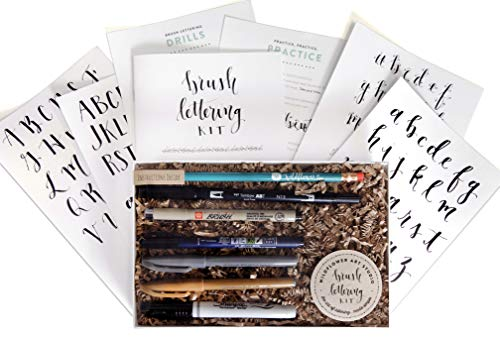 Brush Lettering Calligraphy Kit • Award-Winning Starter Set for Beginners • Includes Instruction Book, Tracing Pad & Supplies • Gift Set - Kids, Teens, Adults