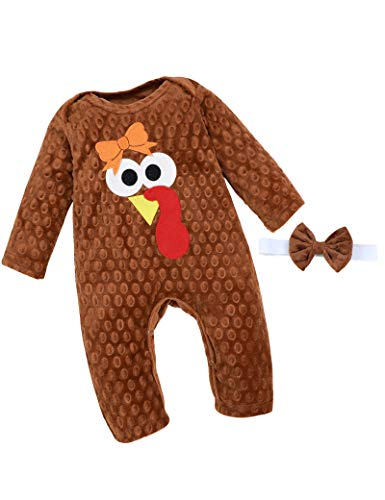 Thanksgiving Newborn Baby Girl Clothes Outfit My 1st Thanksgiving Romper + Headband 2PCS Clothing Set 0-3 Months Brown