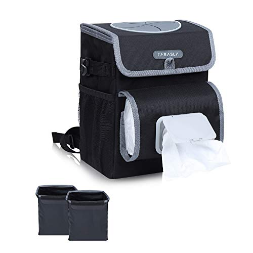 Farasla All-in-One Car Trash Can with 2 Removable Leakproof Interior Liners, Adjustable Tissue Holder & Straps