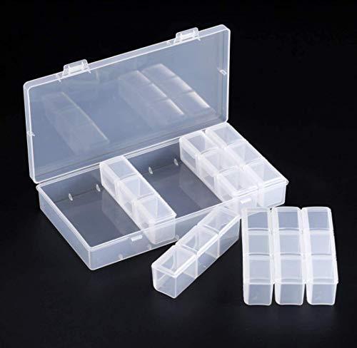 HJQL Caja Almacenamiento Diamantes,Caja Plástico Transparente 21 Compartimentos Grandes,Lentejuelas Diamantes Imitación,Píldora Perlas,Caja Almacenamiento para Manualidades,Contenedor Organizador