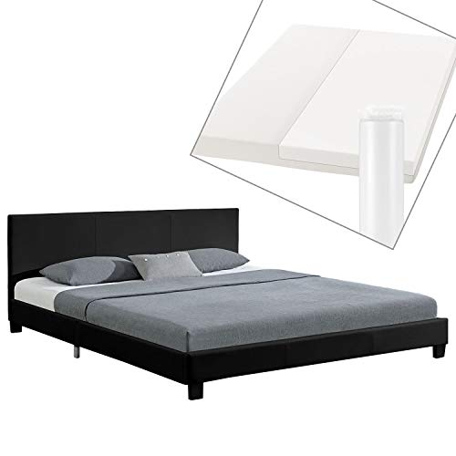ArtLife Polsterbett Barcelona 160 x 200 cm mit Matratze – Bett inkl. Lattenrost & Kopfteil – Holzgestell & Kunstleder – schwarz – Doppelbett