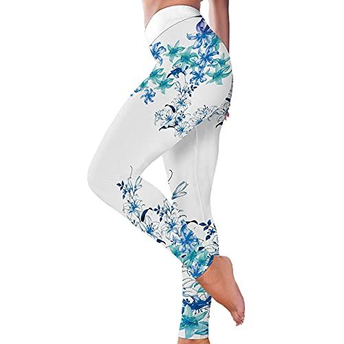 Leggings Deportivo para Mujer Patrón De Flor Azul Impresión Fitness Estirar Los Pantalones Ajustados De La Cadera Deportes De Yoga Corriendo White_XXXL