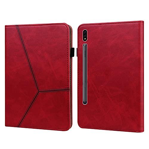 Galaxy Tab S7 FE 12.4 pulgadas SM-T730/T736 Funda para Samsung Tab S7+ Plus SM-T970/T975/T976 Funda resistente, cubierta de cuero con banda elástica (rojo)