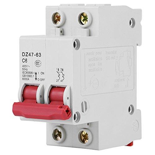 Ginorgee Disyuntor - DZ47-63 AC400V 50Hz 6A Disyuntor en Miniatura Capacidad de ruptura 6000A
