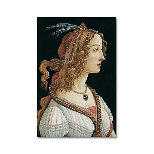 Pintura Famosa de Sandro Botticelli Cavans Pintura Mujer Carteles Impresiones Cuadro de Arte de Pared para Sala de Estar decoración del hogar 15.7x19.7in (40x50cm) x1pcs sin Marco