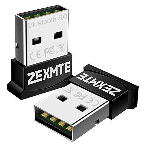 ZEXMTE Micro USB Bluetooth Adapter for PC Bluetooth 5.0 USB Dongle Adapter Compatible with PC Desktop and Computer with Windows 10 8.1 8 7 Vista XP