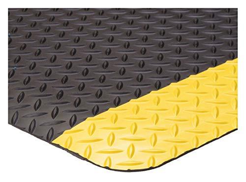 Condor Antifatigue Mat, Vinyl, 3 ft. x 2 ft, 1 EA Black with Yellow Border 6ENJ2-1 Each