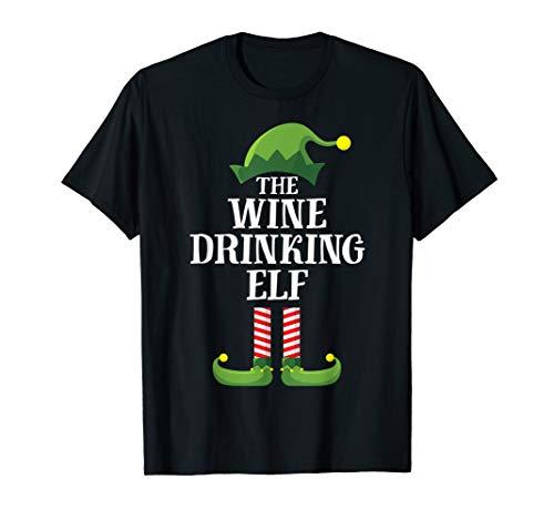 Wine Drinking Elf Matching Family Group Christmas Pajama T-Shirt