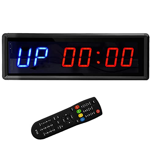 BTBSIGN - Cronómetro y temporizador de intervalos LED con reloj y control remoto para gimnasio en casa (dos azul+cuatro rojos)
