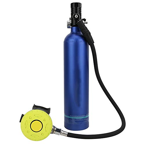 ダイビング酸素シリンダー、1Lポータブルダイビングスキューバ航空アルミニウム素材、高圧ガス貯蔵酸素キャニスター、詰め替え可能な空のエアタンク、漁師ダイバーダイビングアマチュア用(青い酸素ボンベ)