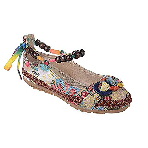 BININBOX Damen Mädchen traditionelle Pekinger Schuhe bestickte Schuhe Nationaler Stil Retro Tanzschuhe Flache Schuhe (39, Mehrfarbig)