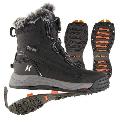 Korkers Women's Snowmageddon Winter Boots - Insulated and Waterproof - Includes Interchangeable SnowTrac Lug Sole and IceTrac Studded Sole with Carbide Studs - Size 7.5