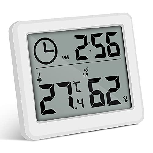 moinkerin Thermo Hygrometer Digitales Hygrometer Innen Humidity Meter Luftfeuchtigkeitsmessgerät Innen für Zuhause, Büro, Schlafzimmer, Babyzimmer usw. (Weiß)