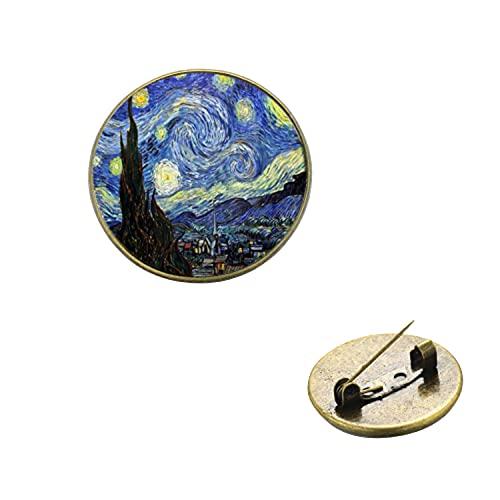 Van Gogh Noche Estrellada Girasol Pinturas Famosas Broches hechos a mano 3D Impreso Cristal Cúpula Collar Pins Botón Icono Decorativo