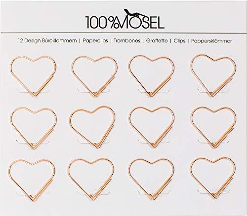 100% Mosel Büroklammern Roségold, 12 Stück, in Herzform (3 x 2,7 cm), edle Klammern aus Metall, modernes Accessoire fürs Büro/Homeoffice, elegante Deko zu besonderen Anlässen