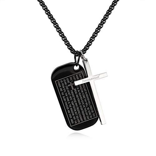 Anhänger Halskette Schmuck Silber Farbe Schwarzes Kreuz Bibel Hundemarke Anhänger Halskette Für Männer Männer Junge Schrift Gebet Gebet Religiöser Schmuck Edelstahl-Schwarz