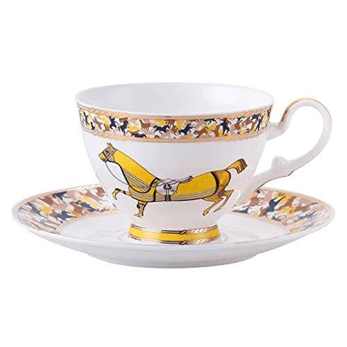 HCFSUK Tazas para Bebidas Taza de café de Porcelana China de Estilo Europeo Wanma Pentium Juego de Tazas de café de cerámica Taza de té de Flores para el hogar Taza y platillo de café Juego de té d