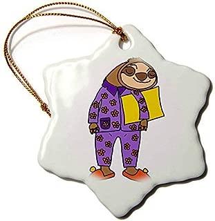 Delia32Agnes Funny Cool Sloth Wearing Purple Flowered Pajamas Cartoon Ceramic Christmas Ornaments for Home Christmas Tree Decoration Keepsake