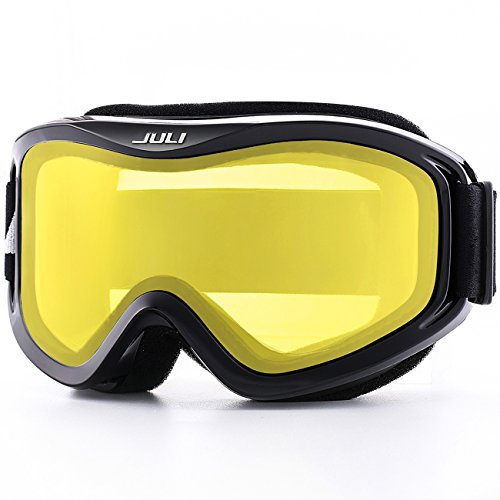 Juli Ski Goggle/Snow Snowboard Goggles for Men, Women & Youth - 100% UV Protection Anti-Fog Dual Lens(Black Frame+57% VLT Lemon Yellow Len)