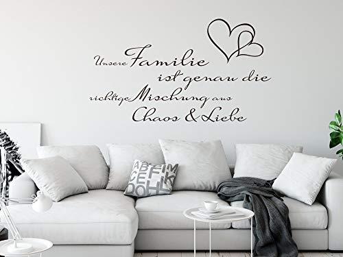 GRAZDesign Home Dekoration modern Unsere Familie ist Spruch - Geschenke für Eltern Familien Sprüche für die Wand - Wandtattoo Herzen / 100x57cm / 070 schwarz
