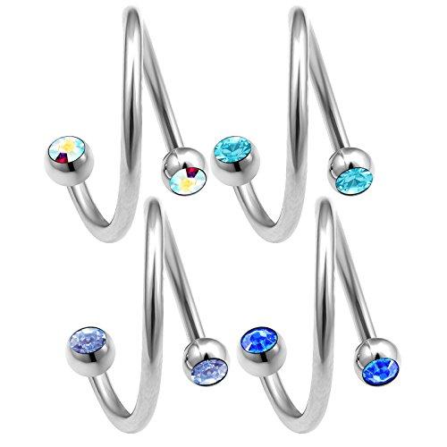 bodyjewelrytrend 4 Stück 1,2mm 12mm spiralen Piercing spirale Cartilage Helix augenbrauenpiercing Ohr schmuck Tragus kristallkugel - E5QCH