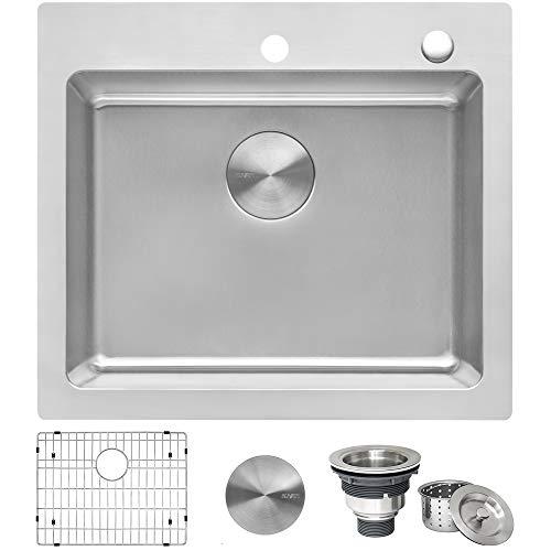 Ruvati 23 x 20 inch Drop-in Topmount Kitchen Sink 16 Gauge Stainless Steel Single Bowl - RVM5923 (30 X 20 Stainless Steel Kitchen Sink)