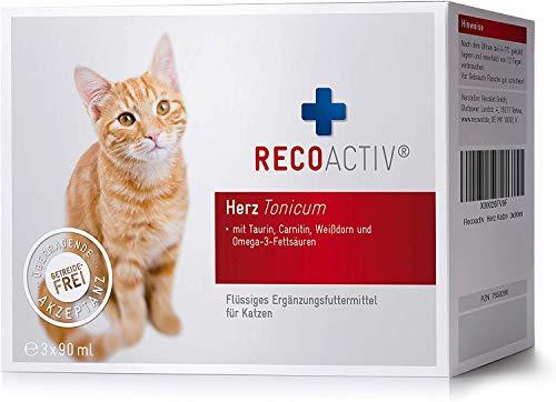 RECOACTIV Herz Tonicum für Katzen, 3 x 90 ml, Herz Nahrungsergänzungsmittel für...