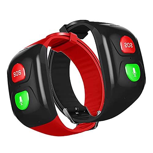 WBias&Belief SOS pulsera GPS Tracker para personas mayores IP67 impermeable simple y fácil de operar, soporte IOS sistema y Android, 2 piezas, negro y rojo