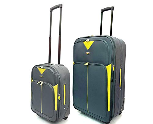 Set of 2 Bundle Pack - Ryanair & EasyJet Lightweight Expandable Cabin Approved Trolley 2 Wheeled Luggage Bag + Matching Medium Expandable 26'/75L Suitcases (18' Ryanair + 26' Medium, Grey/Yellow)