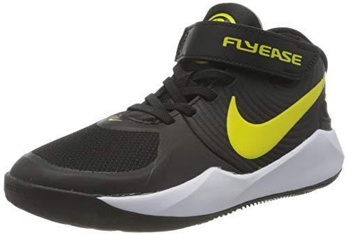 Nike Team Hustle D 9 FLYEASE (GS), Zapatillas de bsquetbol, Black High Voltage White LT Smoke Grey, 38 EU