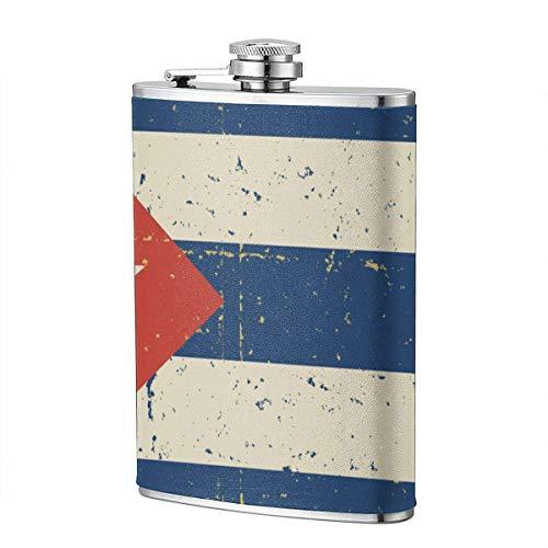 XBYC Retro kubanische Flagge Alkohol und Trichter Flasche 8 Unzen auslaufsichere Edelstahl Taschenflasche für Alkohol Whisky Rum und Wodka Herren Geschenk