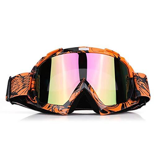 EVGATSAUTO Gafas de moto, Moto Motocross Off Road Dirt Bike Racing Gafas Gafas Protección de ojos(Marco naranja + lente colorida)