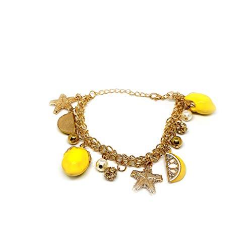 ZYYXB - Pulsera colgante de estrella de mar con forma de limón, diseño de estrellas, hecho a mano, pulsera de playa, cadena de pie de playa