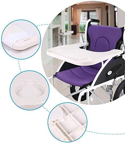 GLJY Adult Rollstuhl Tablett Tisch Universal Typ Patienten Rollstuhl ABS Kunststoff Tischplatte - Kunststoff geformte Rollstuhl Runde Tablett Zubehör mit Getränkehalter