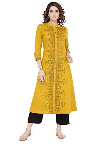 Lady Dwiza Traditionelle indische Designer-Kurta-Kurti-Set für Damen Gr. 34, Mustard & Black