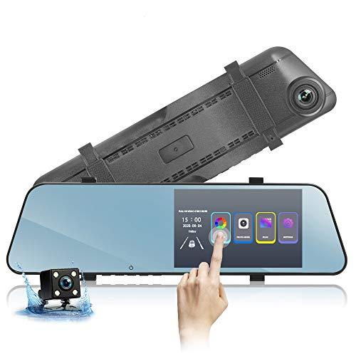Grabadora de conducción de automóviles DVR, pantalla táctil ultra delgada de 5,5 pulgadas, lentes duales delanteras y traseras de alta definición de 1080p, gran angular de 170 grados, soporte para imá